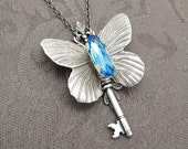 Keeper of Curiosities - Aquamarine Swarovski and Silver Butterfly Key Necklace