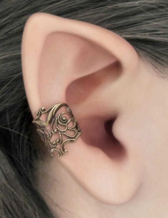 Lace Allure - Brass Filigree Ear Cuff