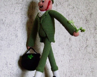 Buy Bonnie's  Crochet Leprechaun Doll W/ pot of gold and 4 leaf clover  @cyicrochet Ready To Ship Sold Only In The USA