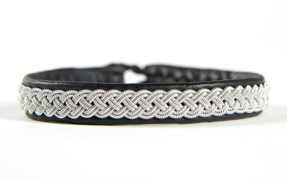 "SwedArt Lapland Sami Reindeer Leather Bracelet-Antler Button-3/8"" Wide-Black-Women XL or MEN MEDIUM-B03 Grouse"