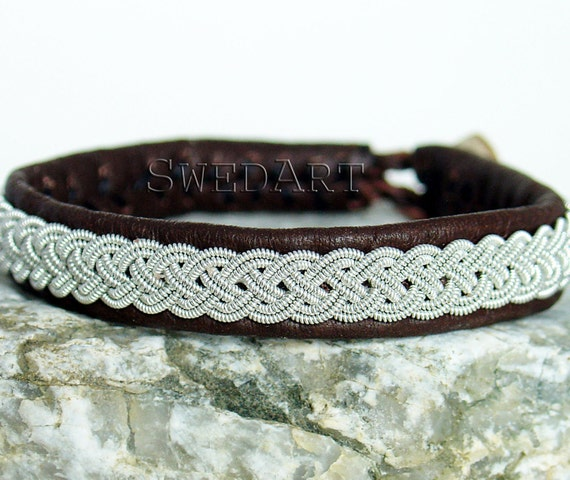 Swedish Lapland Sami  Bracelet,  Reindeer Leather, Antler Button, Pewter and Silver braids,  Men MEDIUM, 3/8 Inch Wide, B03 Grouse