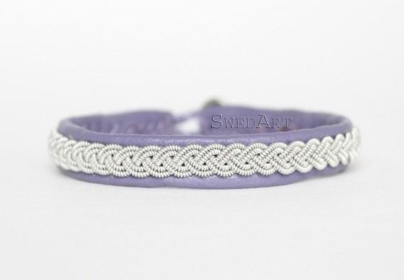 "SwedArt-Lapland Leather Bracelet-Pewter Braid-Antler Button-Lavender-5/16"" Wide-MEDIUM-B12 Sami"