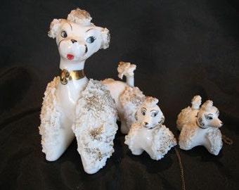 Vintage Porcelain Poodle Family Japan
