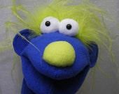 Tinker Toon Hand Puppet - Blue Boy with Neon Green Hair (moving mouth)