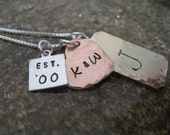 Personalized Hand Stamped Necklace You and Me  Mixed Metal Collection