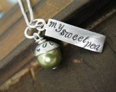 Personalized Hand Stamped Sterling Silver Necklace My Sweet Pea