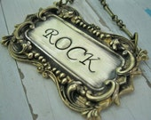 Personalized Hand Stamped Necklace Fancy Frame