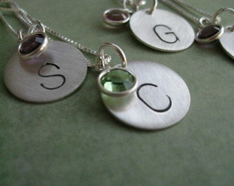 Personalized Hand Stamped Sterling Silver Simple Letters