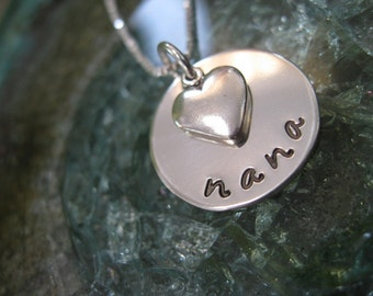 Personalized Hand Stamped Sterling Silver Necklace Dainty Disc