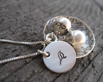 Mama Bird Nest Hand Stamped Sterling Silver Necklace (Personalized  Eggs)