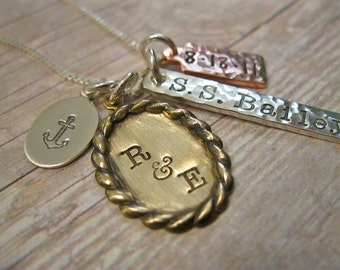 Mixed Metal Stamped Personalized Nautical Inspired Necklace