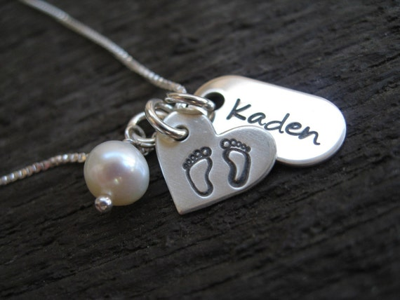 Personalized Hand Stamped Sterling Silver Necklace 10  Tiny  Toes