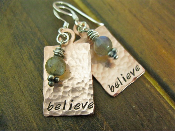 Labradorite and Copper Hand Stamped Personalized Earrings Believe