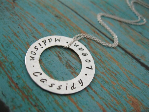 Complete Family Personalized Hand Stamped Necklace