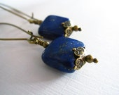Pyrite lapis lazuli antique brass with antique gold kidney ear hoop dangle earrings