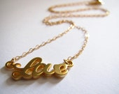 Love necklace with 14k Gold Filled chain and clasp