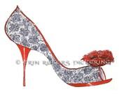 Dramatic Black Lace and Rose Fantasy Shoe art print 5x7