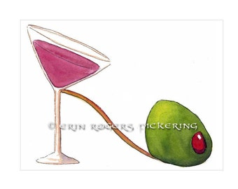 Shoe Art Cocktail Martini and Green Olive 5x7 Print