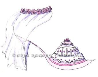 Wedding Fantasy Shoe fondant cake 5x7 Print