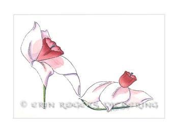 Spring Daffodil Shoe Art Print 5x7