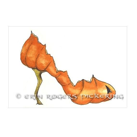 Pumpkin Stiletto fantasy shoe art print 5x7