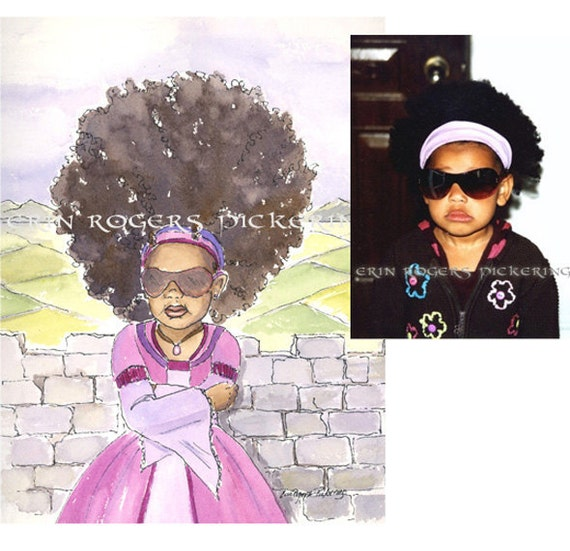 Adapted Custom Child Portrait Character and Princess Watercolor Illustrations 8x10