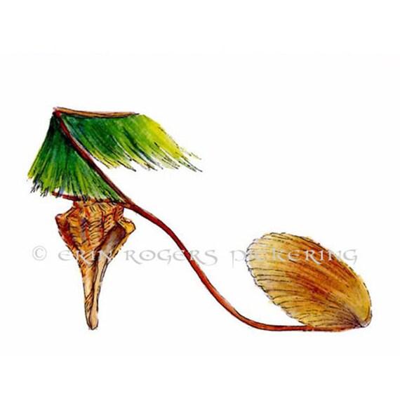 Shoe Art Hawaiian Shell Grass Skirt 5x7 Print