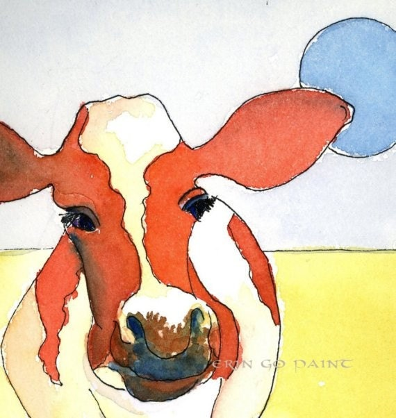 Cow with Blue Moon 8x10 print