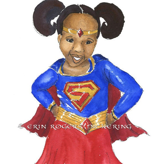 African American Super Girl in Red Blue and Gold 8x10 Print