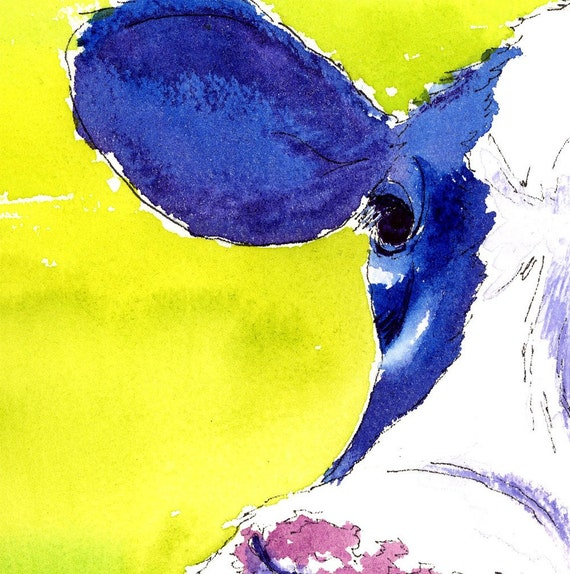 Print - Cow Portrait with mat, How Now... Cobalt Cow