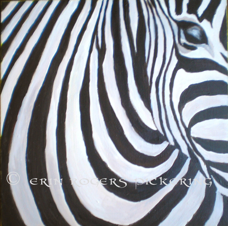 zebra portrait on wood panel original acrylic by eringopaint. Black Bedroom Furniture Sets. Home Design Ideas