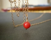 Red coral gold filled necklace