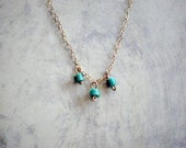 Tiny Turquoise on gold filled Necklace