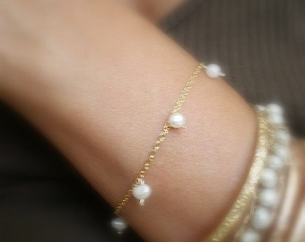 14k Gold filled bracelet with dangle pearls