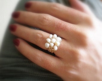 Crochet gold filled wire ring, crochet pearls ring