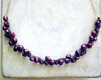 Purple pearls cluster crochet necklace, crochet wire necklace