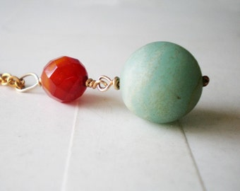 Long gold necklace- Carnelian and Amazonite pendant necklace
