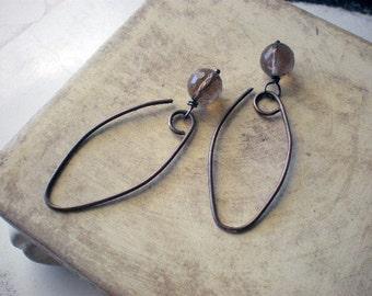 Smokey quartz on sterling silver earrings