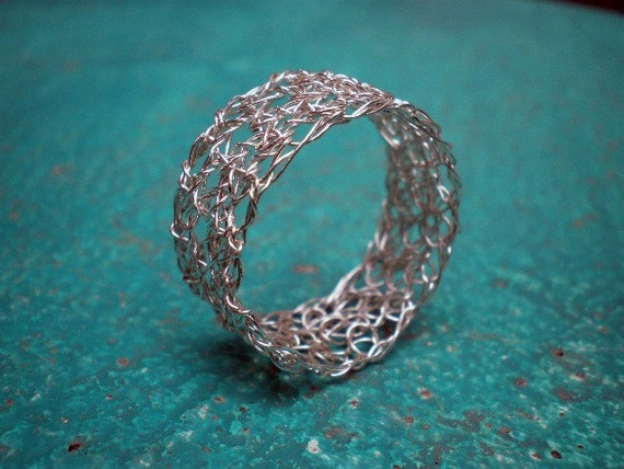 Silver lace - crochet ring - size made to order