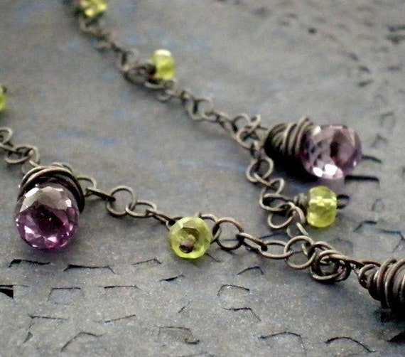 Amethyst Peridot Necklace - Sterling silver, oxidized