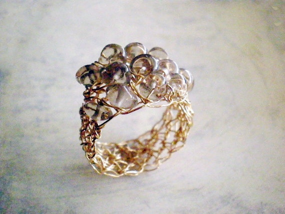 SALE 30% OFF, Gold filled wire crochet ring with Smoky quartz, size 7, last one
