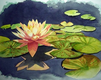 Original Watercolor-Water lily