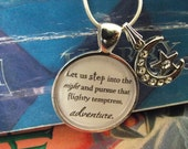 "Let us step into the night, adventure- Harry Potter- buy two get one free- 16"" or 18"" snake chain- READY TO SHIP"