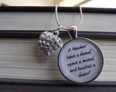 "Teachers takes a  hand, opens minds, touches hearts Necklace- buy two get one free- Includes a 16"", 18"", 22"", 28"" snake chain- Ready To Ship"