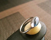 Moon Mood Haiku - Labradorite Ring in Sterling and Copper