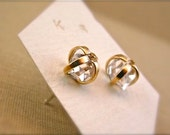 SALE - Herkimer Diamond Earrings - Mixed Metal - 14k gold and Sterling - 6mm