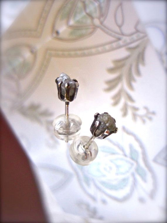 Raw and Rough Diamond Stud Earrings in Sterling Silver