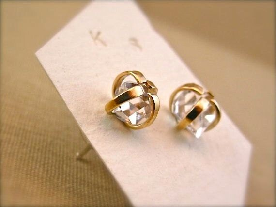 Reserves for Kelsey - Herkimer Diamond Earrings - Mixed Metal - 14k gold and Sterling - 6mm