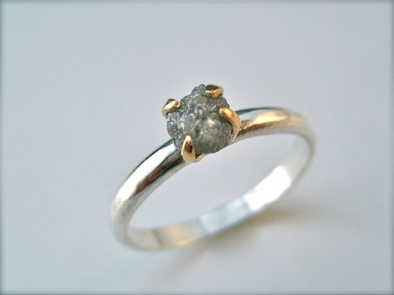 Rough Diamond - .735carat - Solitaire Ring - 14k Gold and Sterling Silver