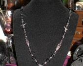 OOAK Victorian flapper deco black jet bead bird charm necklace